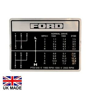 GEAR CHANGE DECAL FOR FORD 4000 5000 7000 4600 TRACTORS.