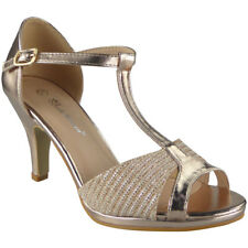 Womens Peeptoe Sandals HEELS Ladies Wedding Bridesmaid Bridal Party Shoes Sizes Champagne UK 6 / EU 39 / US 8