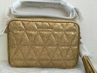 NWT Michael Kors Ginny Medium Quilted Metallic Leather Camera Bag $228 Pale Gold