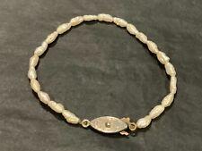 Vintage Natural Rice Pearl Single Strand Bracelet 18cm B149
