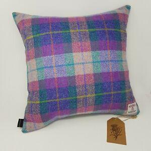 Purple Pink CHECK Wool TWEED Genuine HARRIS TWEED Cushion Cover all sizes