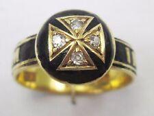 Antico Vittoriano 18ct oro in memoriam Nero Smalto Diamante Anello Massonico 1866