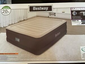 """Bestway Air Mattress Queen 20"""" with Built-in Pump and Antimicrobial Protection"""