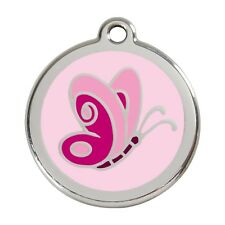 Red Dingo Dog Cat Pet ID Tag Charm FREE Personalized Engraving BUTTERFLY PINK