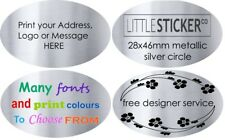 custom logo stickers quality one colour print on silver OVAL labels x50
