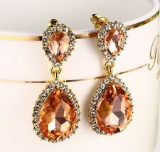 Women's Fashion 925 Silver Morganite Stud Dangle Drop Earrings Wedding Jewelry
