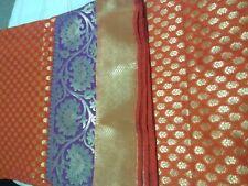 Sari de seda pura BANARASI Hermoso Blusa Elegante Asiática Rojo Anaranjado