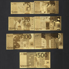 1 Set Crafts Banknote Gold Foil Plastic Commemorative Coin Euro Collections Lots