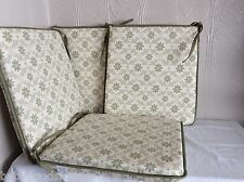 A SHAPE DINING CHAIR SEAT PADS SET OF 4 SHABBY CHICK FLORAL SAGE DAISY 15X15""