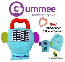 NEW Gummee Glove Turquoise Baby Teething Mitten with Silicone Teether Ring Toy