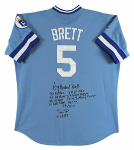 """Royals George Brett """"9x Inscribed Stat"""" Signed Blue Majestic Jersey BAS  #I29138"""