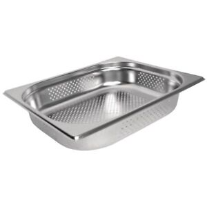 Stainless Steel 1/2 Size PERFORATED Gastronorm Pan Bain Marie Pot Choose