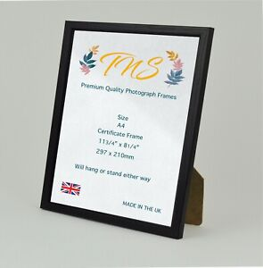 A4 Photo Frame, Certificate Poster Picture Frames Black Made in UK Fast Dispatch