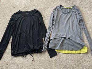 Lululemon Women's Gray Shirt Top Size 8 Long Sleeve Athleta M Medium Black Shirt