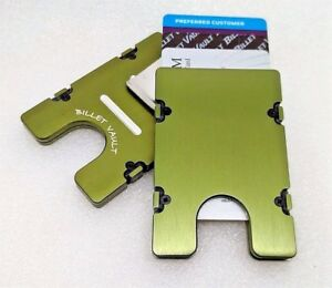 Billet Aluminum Wallet/Card Holder RFID protection, Plain Front, Green Anodized