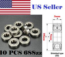 10 PCS 688ZZ Miniature bearings Metal Double Shielded Bearing 8x16x5mm