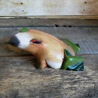 Vintage Wooden Frog Hand Carved Wood Treefrog Painted Wooden Folk Art