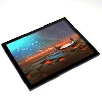 Glass Placemat 20x25 cm - Volcanic Lake Boat Lanterns Art  #14082