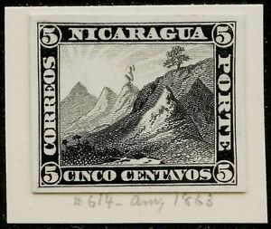 NICARAGUA #4P3 PLATE PROOF ON INDIA PAPER XF-SUPERB ABNCo. (EX-GREEN) BQ3991