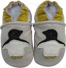 Carozoo penguin cream 2-3y soft sole leather toddler shoes