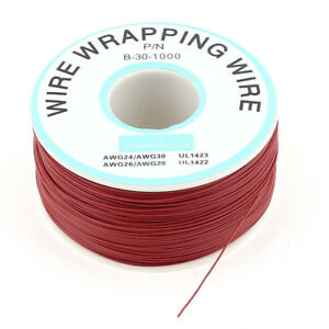 1000Ft Circuit Board JTAG Tin-Plated Copper Wire 0.25mm 30AWG Red