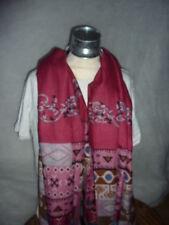 foulard,écharpe,motif ethnique bordeau très doux et beau coton viscose100.180 cm