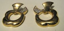 floral design with small white stones Gorgeous Gold tone metal earrings with