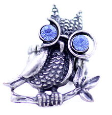 Vintage style antique silver colour owl with crystal glasses stretch charm ring