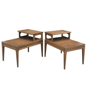 Mid-Century Modern Sculpted Walnut Tiered End Tables by Mersman - A Pair