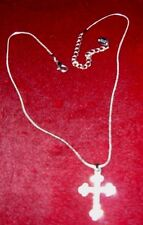 Claire's cross pendant silver toned snake chain Rhinestones