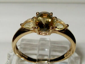 QVC 9ct Yellow Gold Champagne & Love Heart Shape Lemon Quartz Trilogy Ring