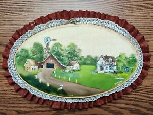 Vintage Hand Painted Farm Scene Embroidery Hoop Frame Ruffled Fabric Trim