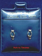 Silver Earrings with Surgical Steel Posts Open Owl Cut Out Design Sterling