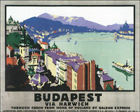 POSTER BUDAPEST BANUBE RIVER CHAIN BRIDGE HUNGARY TRAVEL VINTAGE REPRO FREE S/H