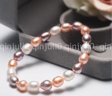 7-8MM Natural Mix Color Freshwater Pearl Stretchy Bracelet Bangle 7.5'' J3203
