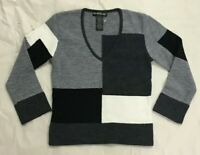 Bebe Cropped Crop Pullover V-Neck Colorblock Sweater Black Gray White S