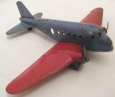 """Old Pressed Steel 2 Prop Airplane w/ fenders & wooden wheels - 7 1/8"""""""