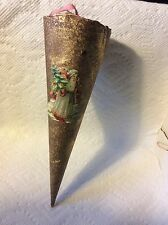 OLD GERMAN DRESDEN GOLD CORNUCOPIA CANDY CONTAINER WITH SANTA CHRISTMAS ORNAMENT