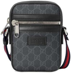 NEW GUCCI BLACK GRAY GG SUPREME CANVAS LEATHER WEB MESSENGER CROSSBODY BAG