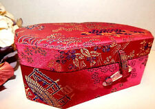 Jewelry Box Asian Floral Red Satin Flip Top Compartment Storage with Mirror