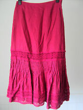 Kaliko - 100% Linen Pink Skirt with Lace /bead Detailing- Boho/ Chic ~ size 14