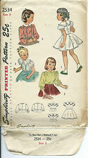 S 2534 sewing pattern 40's BLOUSE & PETTICOAT combo sew 1948 girl's size 3 Sweet