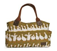 Green Tote Handbag Bag Canvas Handles Ducks Gifts White Duck Gift Outer Pockets