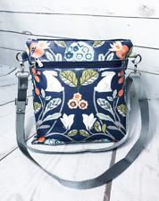 new Blue Hare oilcloth crossbody bag, forest print wet bag, waterproof