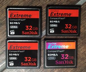 4 X Sandisk Extreme 32GB 60MB/s UDMA  Compact Flash CF card