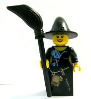 Lego Female Girl Minifigure Figure Friendly  Witch With Broom   Halloween