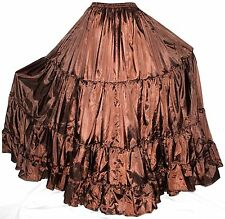 Brown 25 Yard S M L Tribal Gypsy Boho Flamenco Belly Dance Dancing Circle Skirt
