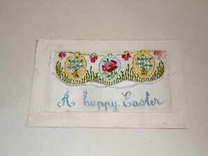 EARLY WW1 ERA EMBROIDERED SILK GREETINGS PC - FLAGS - A HAPPY EASTER