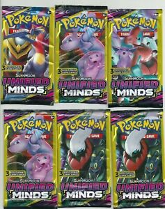 Lot of (6) New Sealed Pokemon S&M Unified Minds Booster 3 Card Packs - UNWEIGHED