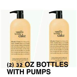 NEW X2 PHILOSOPHY VANILLA BIRTHDAY CAKE SHAMPOO SHOWER GEL BATH 32 OZ + PUMPS
